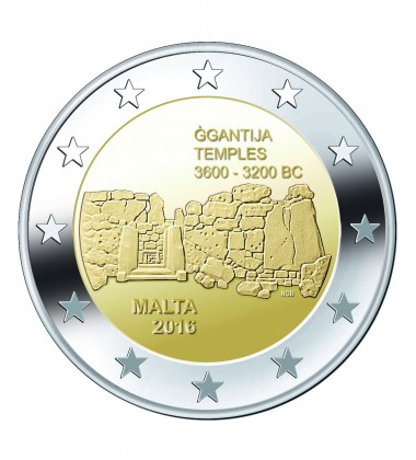 2016 Malta Ggantija Temple 2 Euro Commemorative Coin