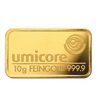 Gold Bullion 10Grams Umicore 9999 Fine