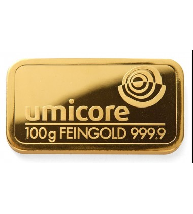 Gold Bullion 100Grams Umicore 9999 Fine