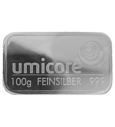 Silver Bullion 100Grams Umicore 999 Fine Lbma Good Delivery