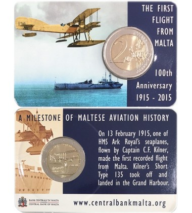 2015 Malta 100 Years of First Flight Coin Card 2 Euro Commemorative Coin