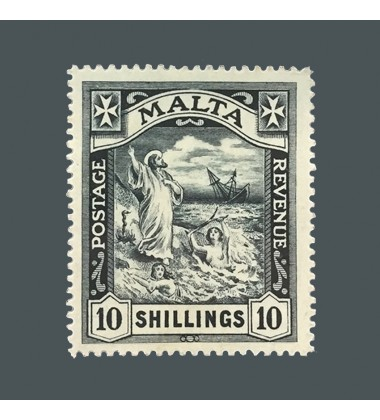 1919 Malta Stamp 10 Shillings Black SG96