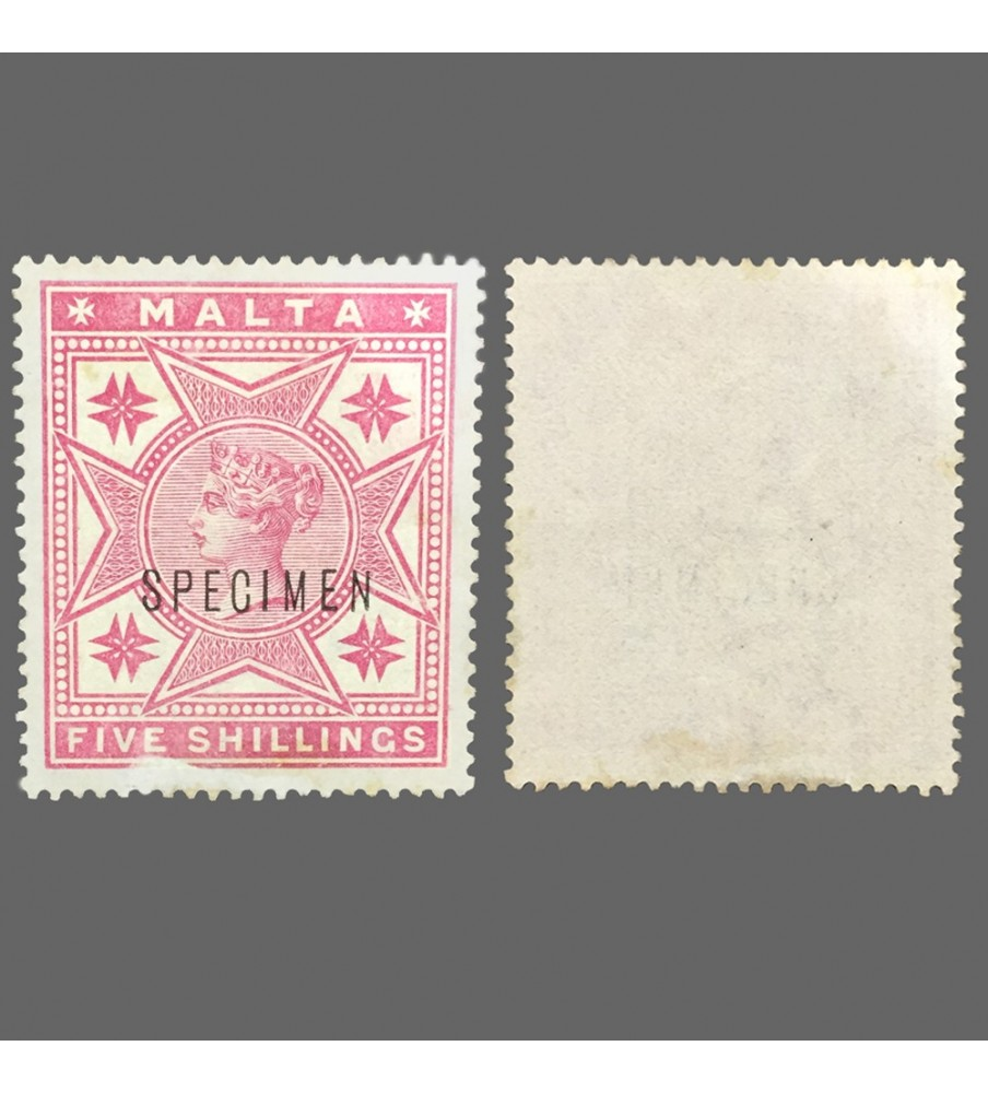 1885 Queen Victoria Malta Stamp 5 Shillings Specimen