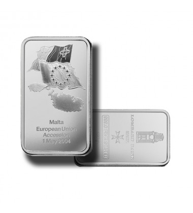 2004 Lombard Bank 100gr Silver Ingot EU Accession