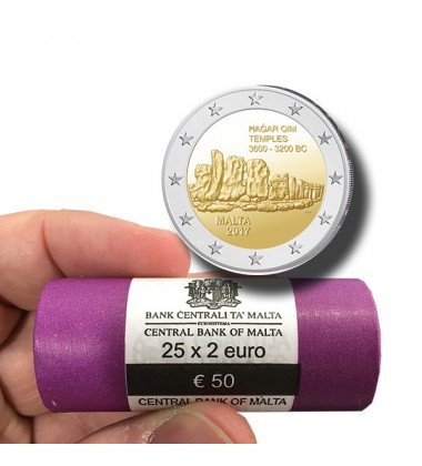 2017 Malta Hagar Qim 2 Euro Commemorative Coin ROLL