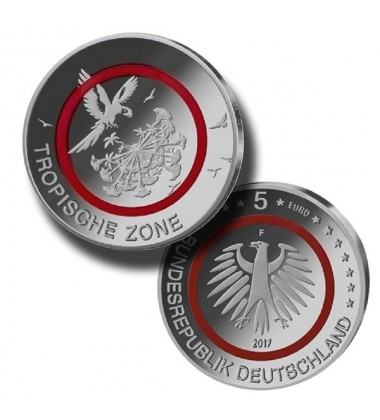 2017 Germany 5 Euro Red Tropical Zone