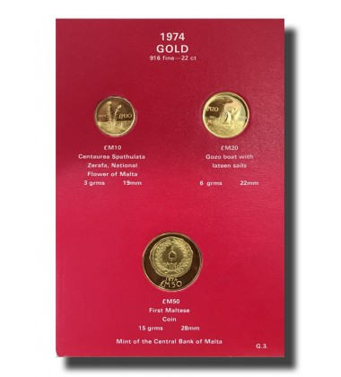 1974 Malta Gold Coin Set of 3 Coins