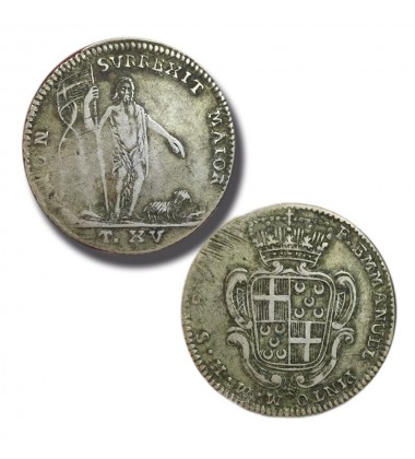 1741 - 1773 Pinto 15 Tari - Knights of Malta Silver Coin