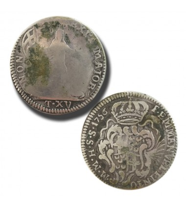 1756 Pinto 15 Tari - Knights of Malta Silver Coin