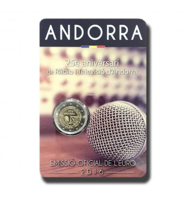 2016 Andorra 25th Anniversary Radio & TV 2 Euro Commemorative Coin