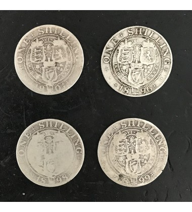 1896 1898 1899 1901 British Silver Shilling Coins Lot of 4