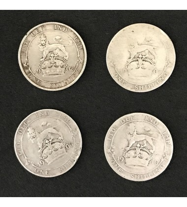 1902 1906 1907 1910 British Silver Coins Lot Of 4