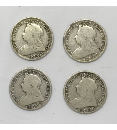 1896 1897 1898 1899 British Silver Coin Lot of 4