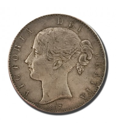 1847 British Silver Crown 5 Shillings Victoria Coin