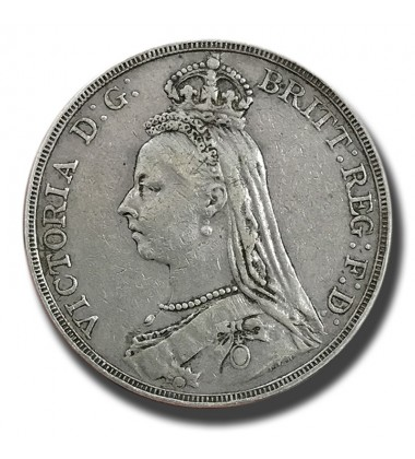 1890 British Silver Crown 5 Shillings Victoria Coin