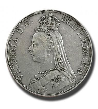 1890 British Silver Crown 5 Shillings Victoria Coin
