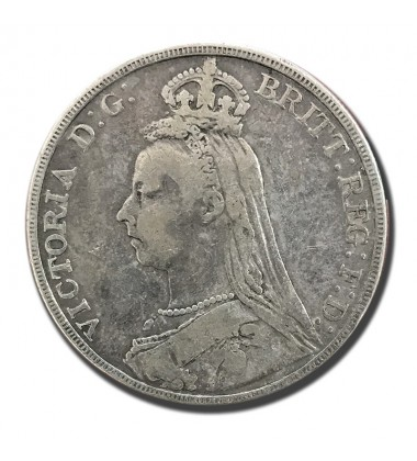 1892 British Silver Crown 5 Shillings Victoria Coin