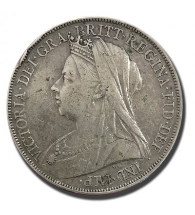 1900 British Silver Crown 5 Shillings Victoria Coin