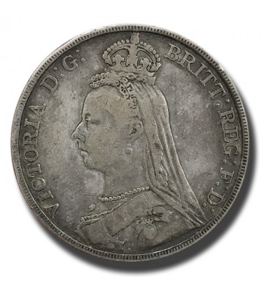 1891 British Silver Crown 5 Shillings Victoria Coin
