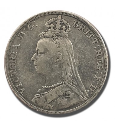 1889 British Silver Crown 5 Shillings Victoria Coin