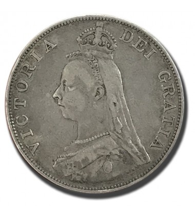 1889 British Silver Double Florin 4 Shillings Victoria Coin