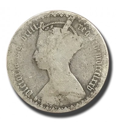 1873 British Silver Gothic Florin 2 Shillings Victoria Coin