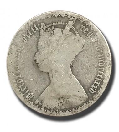 1873 British Silver Gothic Florin 2 Shillings Victoria Coin