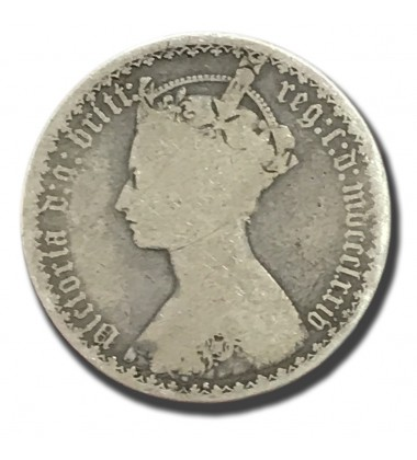 1874 British Silver Gothic Florin 2 Shillings Victoria Coin