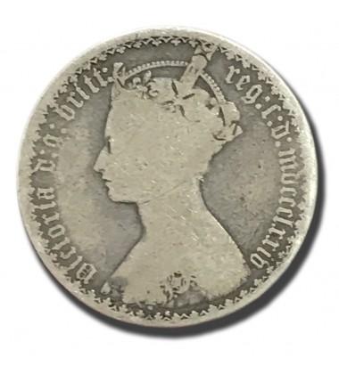 1874 British Silver Gothic Florin 2 Shillings Victoria Coin