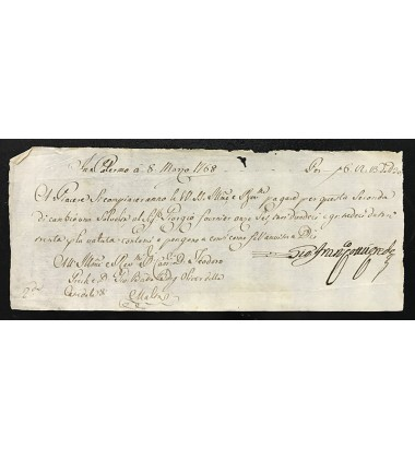 1768 Mar 8 Malta Cambiala (Bill Of Exchange) Teodoro Grech & Giobatta Borg Olivier