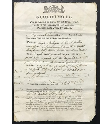1831 May 25 Malta Giiuglielmo Iv Court Marshall Legal Document