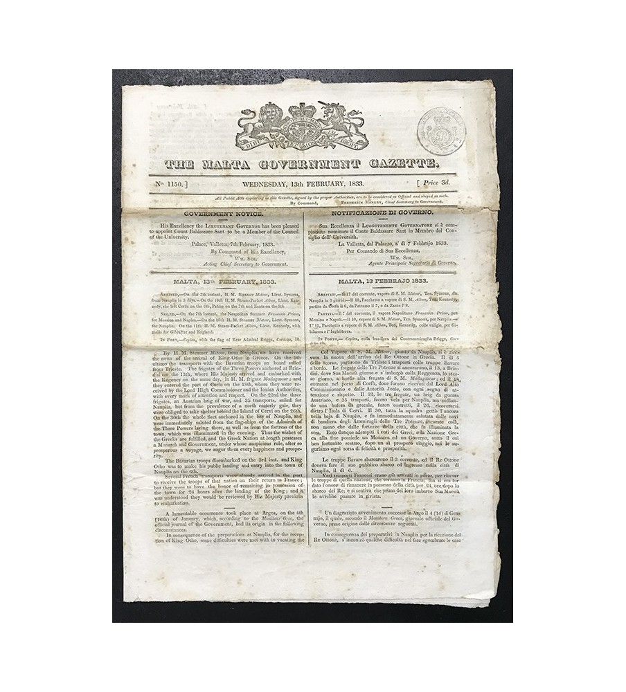 1833 Feb 13 Govt Gazette Including Appointment Of Count Baldassare Sant To Univertity Council