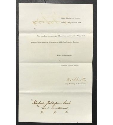 1836 Nov 17, Official Chief Secretary'S Office Letter, Signed By Chief Secretary Fred Hankey