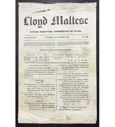 1845 October 17 Lloyd Maltese Maritime Gazette Incl Vessel And Passenger Movements in Malta