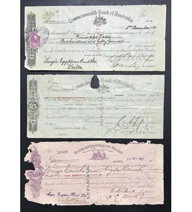 1921-2 Malta Incoming Cambiali Anglo Egyptian Bank Ltd Lot Of 3
