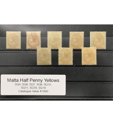 Malta Half Penny Yellows Sg Numbers - 4, 6, 7, 8, 10, 11, 18, 19 Catal