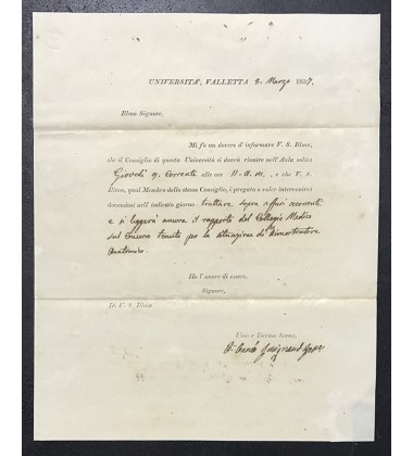 1837 March 8 Entire Letter Universita Valletta Regarding Medical Faculty Discussion