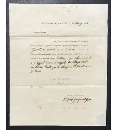 1837 March 8 Entire Letter Universita Valletta Regarding Medical Faculty Discussion