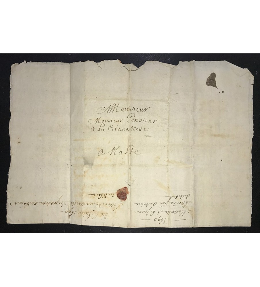 1690 Entire Letter to Valletta Malta from France Pre Adhesive Postal History