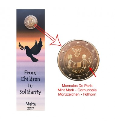 2017 MALTA PEACE COIN CARD - 2 EURO COMMEMORATIVE COIN