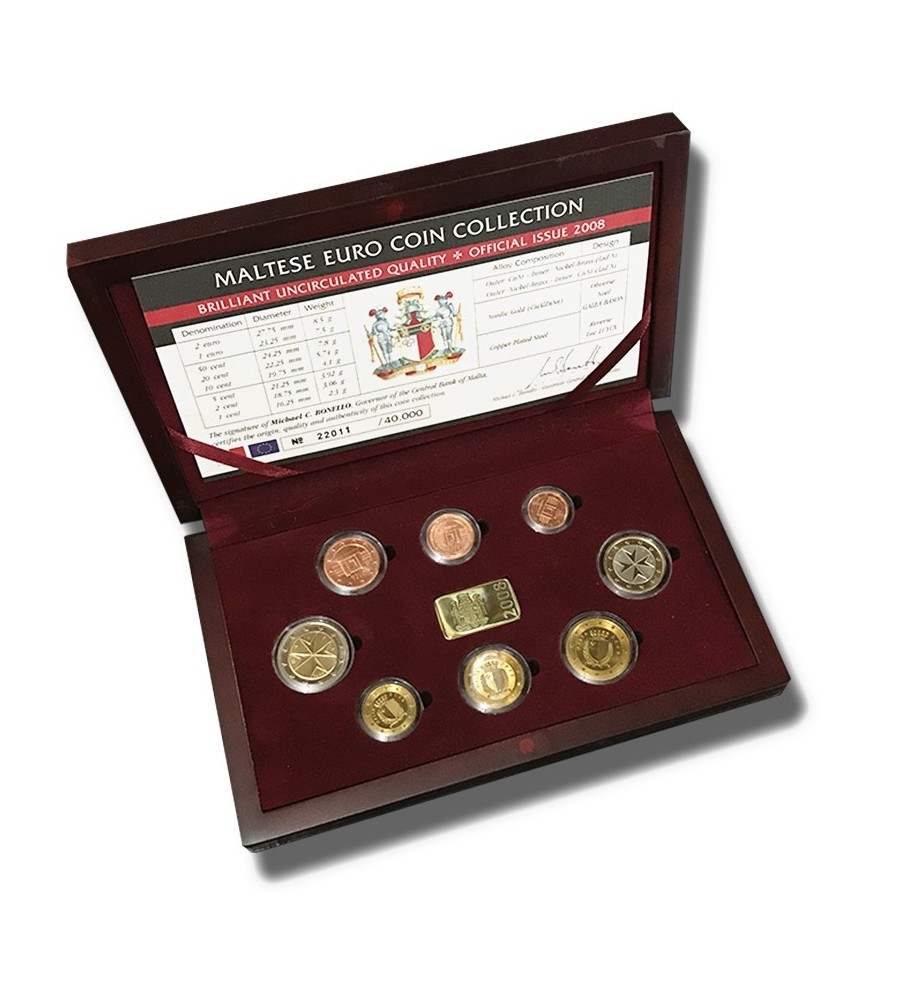 2008 Malta Euro Coin Box Set Official First Issue
