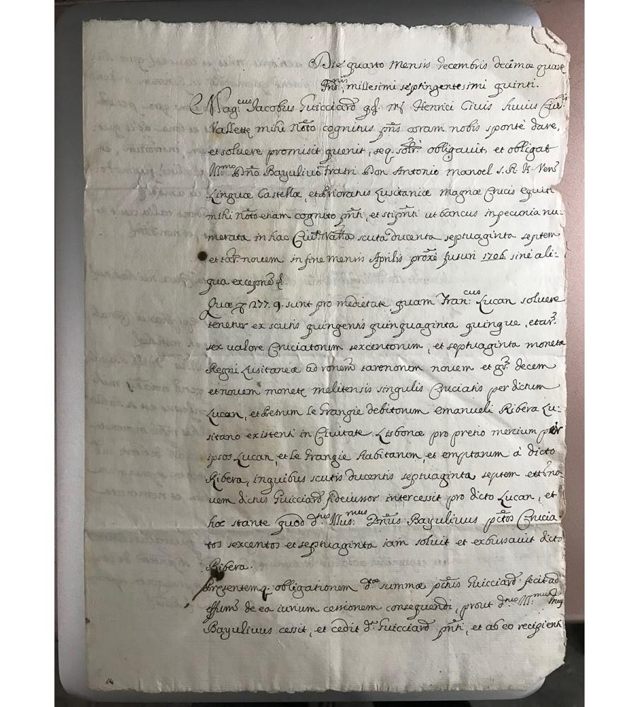 1705 Grand Master of Malta Emmanuel Pinto Signed document bearing Marc Antonio Zondadari Wafer Seal