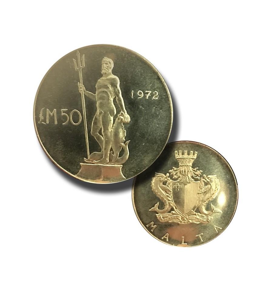 1972 Malta Gold Coin LM50 Neptune