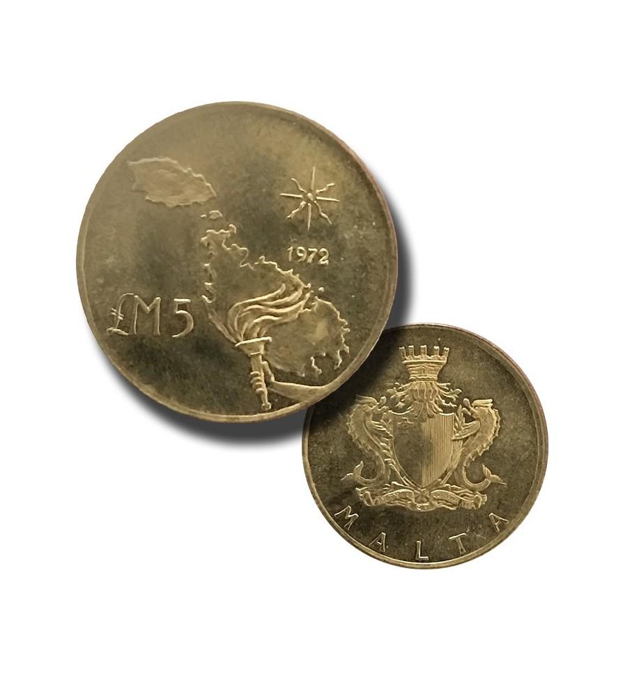 1972 Malta Gold Coin LM5 Malta Map