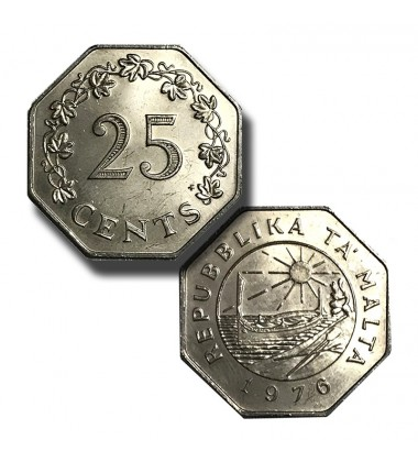1976 Malta 25 Cents Coin in Copper Nickel Uncirculated