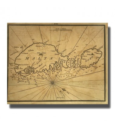 MAP OF MALTA & GOZO BY SMITH 1798-1850