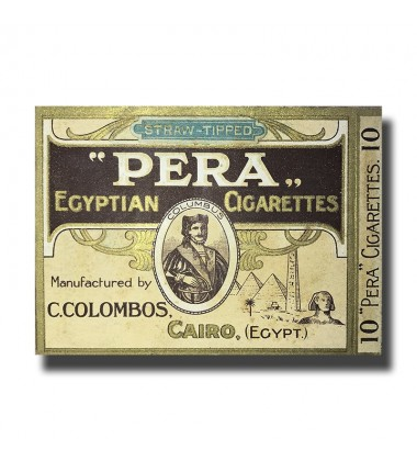 Pera Straw Tipped C. Colombos Ltd. Cairo Egyptian Cigarettes 89 x 71 x 8mm (10 Cigarettes)