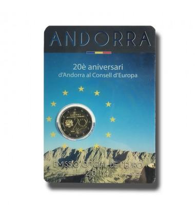 2014 Andorra 20th Anniversary Council Of Europe 2 Euro Coin
