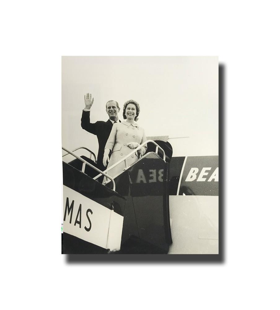 1950's ca Malta Photograph BEA Flight Queen Elizabeth II and Duke of Edinburgh