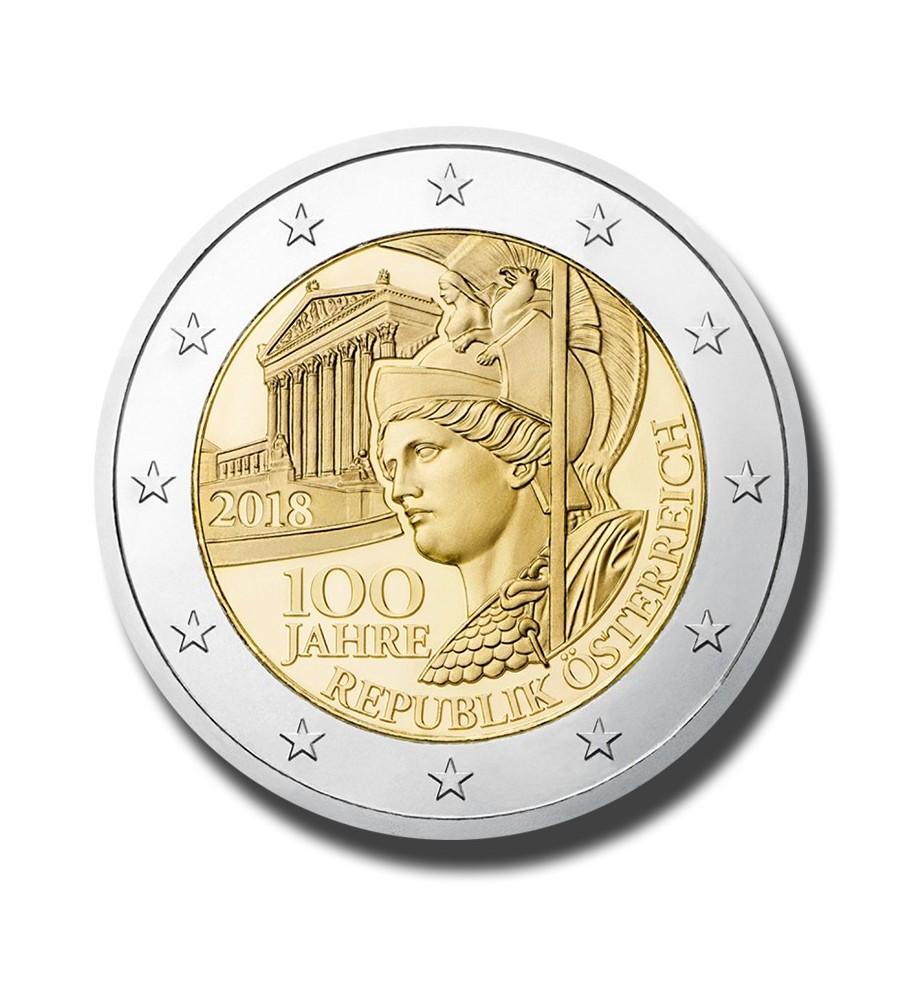 2018 Austria 100Th Ann Of The Austrian Republic 2 Euro Commemorative Coin